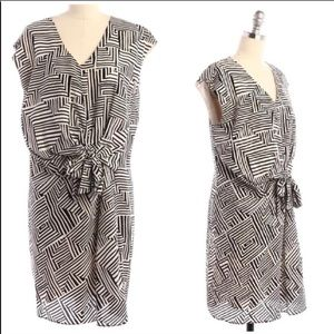 GREYLIN Black and White Tie Aztec Print Silk Dress